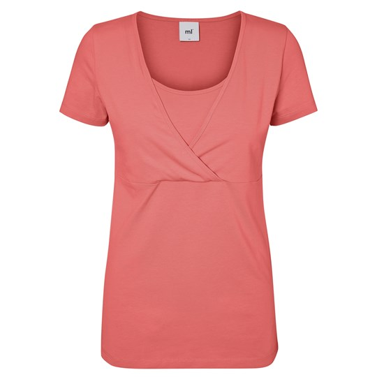 Mamalicious Jersey Nursing Top Sunkist Coral Pink