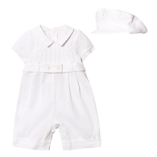 Emile et Rose Gerald White Romper and Hat Set White