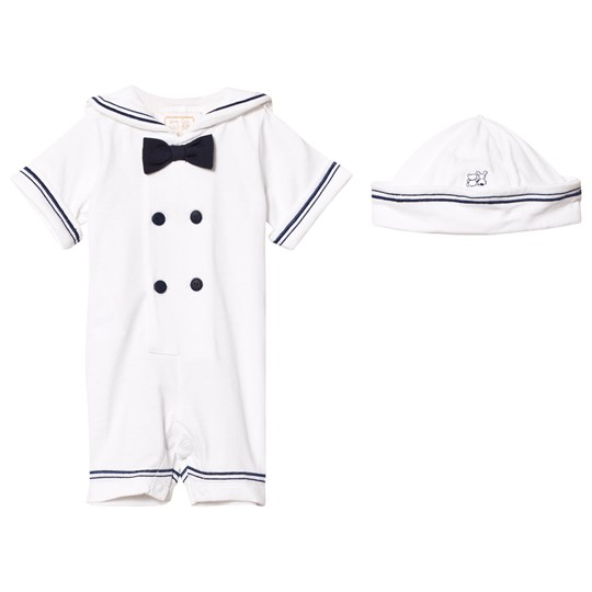 Emile et Rose Kenneth White and Navy Sailor Romper and Hat Set White