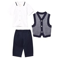 Emile et Rose 3 Piece Top, Vest and Trousers Set Laivastonsininen