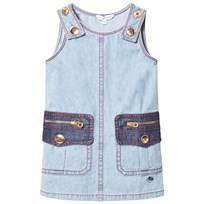 Little Marc Jacobs Washed Denim Pocket Dress with Gold Buttons Z04