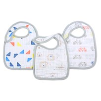 Aden + Anais 3 Pack Classic Leader Of The Pack Snap Bibs White