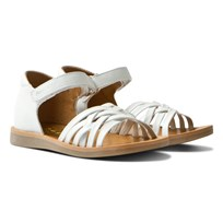 Pom Dapi White Poppy Lux Soft Velcro Sandals Blanc