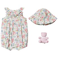 Ralph Lauren Multi Floral Frill Romper, Hat and Bear Gift Set 001