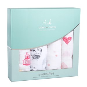 Image of Aden + Anais 4 Pack Classic Lovebird Swaddles (3023207551)