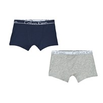 Calvin Klein 2 Pack Navy Grey Branded Trunks 050