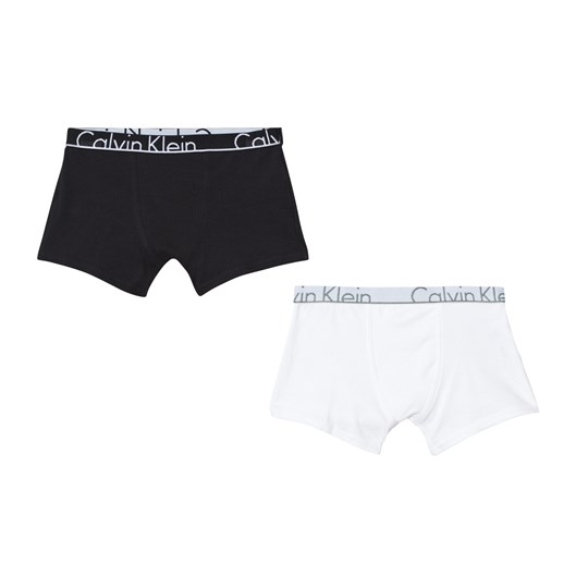 Calvin Klein 2 Pack Black White Branded Trunks 088