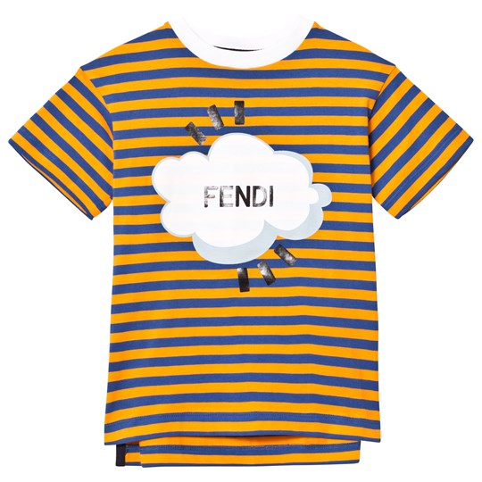 Fendi Orange Navy Stripe Branded Tee F0JD2