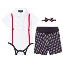 Andy & Evan White Polo Shirtzie, Bow Tie and Shorts Set White