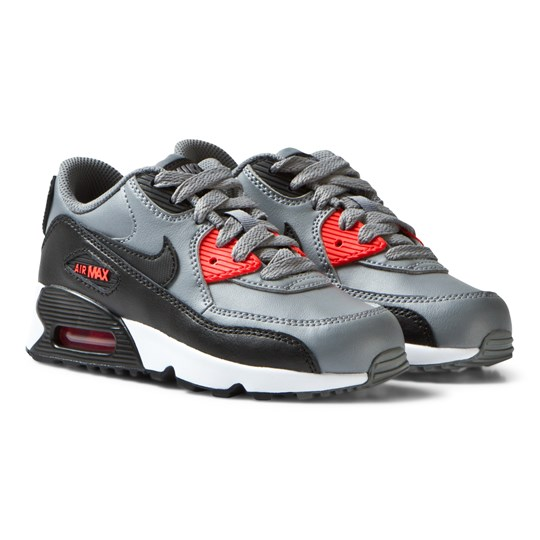 NIKE Air Max 90 Leather Trainers Grey and Orange COOL GREY/BLACK-MAX ORANGE-WHITE