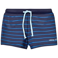 Carrément Beau Navy and Blue Stripe Swim Shorts V98