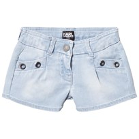 Karl Lagerfeld Kids Blue Denim Shorts with Grommet Detail Z27