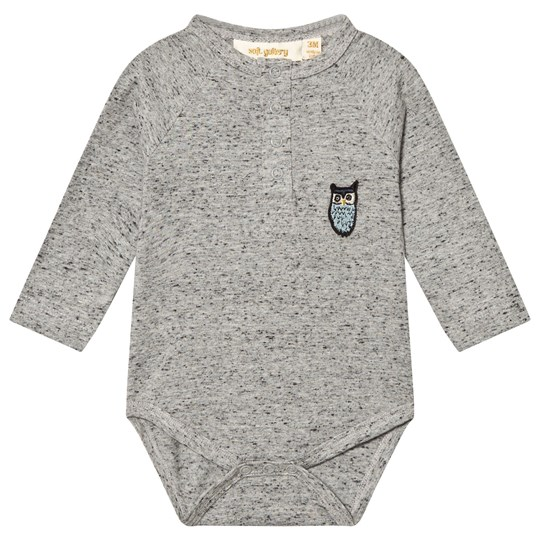 Soft Gallery Rupert Baby Body Grey Neppy Melange Grey Neppy Melange, Owl patch blue