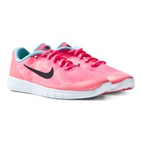 NIKE Pink Free Run 2017 Junior Trainers RACER PINK/BLACK-LAVA GLOW-PURE PLATINUM