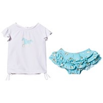 Snapper Rock Gold Horse Ruffle Set White/Blue