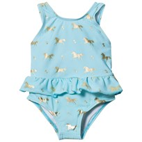 Snapper Rock Gold Horse Skirt Swimsuit Blue/Gold