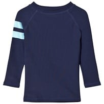 Snapper Rock Navy Sleeve Band Long Sleeve Rash Top Navy/Blue Strip