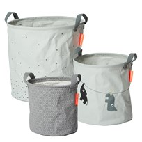 Done by Deer 3 Piece Soft Storage Baskets Grey Black