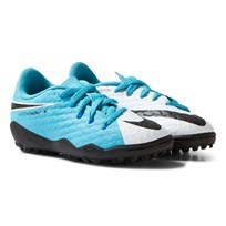 NIKE Hypervenom Phelon III White Blue Artificial Turf Soccer Boots WHITE/BLACK-PHOTO BLUE-CHLORINE BLUE