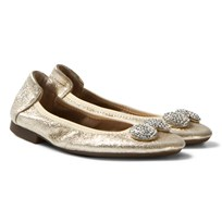 Lelli Kelly Gold Magiche Folding Ballet Flats With Diamante Bow Gull