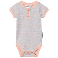 Geggamoja Short Sleeved Body Light Grey Melange Peach L.grey mel/peach