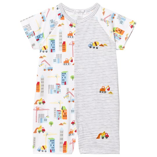 Kissy Kissy White Building Print and Stripe Romper WH