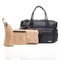 Storksak Charlotte Leather Changing Bag Black Black