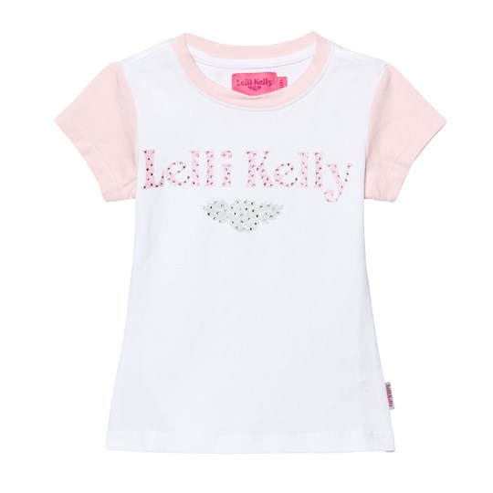 Lelli Kelly Diamante Branded T-shirt Vit/Rosa Pink