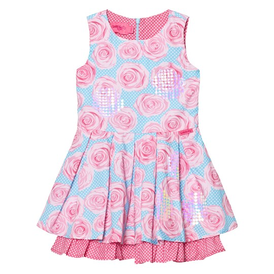 Lelli Kelly Pink and Aqua Rose Print Dress Pink
