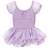 Mirella Lilac Sequin Daisy Motif Puff Sleeve Tutu Leotard Dress Lilac