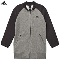 adidas Grey Full Zip Bomber Jacket CORE HEATHER
