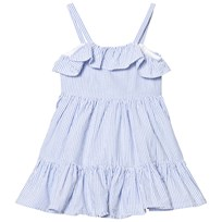 Ralph Lauren Blue Seersucker Frill Dress 001