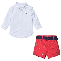 Ralph Lauren Blue White Oxford Stripe Shirt Red Lighthouse Shorts Set 001