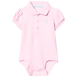 Ralph Lauren Puff-Sleeve Polo Baby Body Carmel Pink