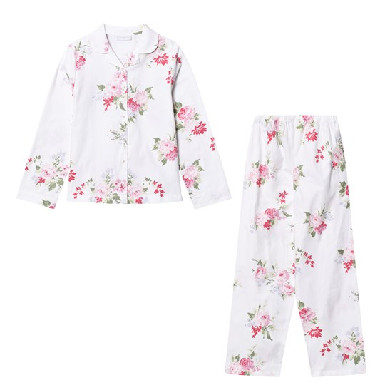 The Little White Company White Multi Floral Flannel Pyjamas Rosa