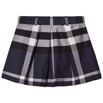Burberry Navy Check Pleat Skirt Navy