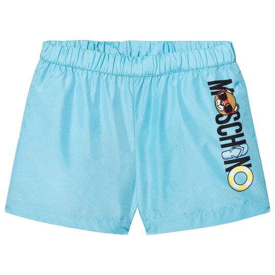 Moschino Kid-Teen Pale Blue Bear Print Swim Shorts 40386