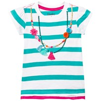 Hatley Turquoise Stripe Tee with Necklace Detail Turquoise
