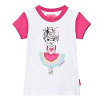 Lelli Kelly Pink and White Girl with Appliqe Skirt Tee White