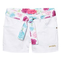 Lelli Kelly White Denim Shorts with Floral Tie White