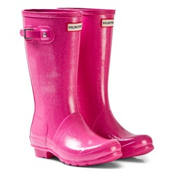 Hunter Fuschia Original Kids Glitter Boots