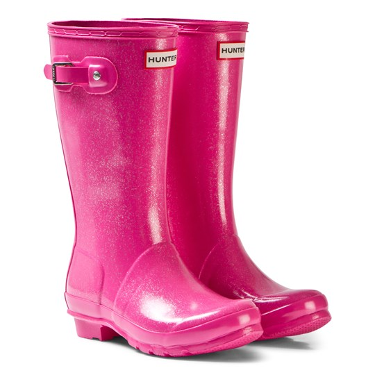 Hunter Fuschia Original Kids Glitter Boots Pink