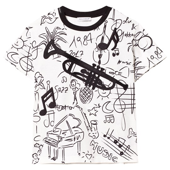 Dolce & Gabbana White Musical Instrument Tee with Trombone Appliqué HW641