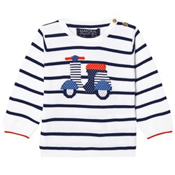 Mayoral White Stripe Scooter Intarsia Jumper