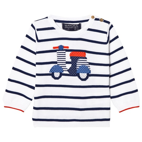 Mayoral White Stripe Scooter Intarsia Jumper 66