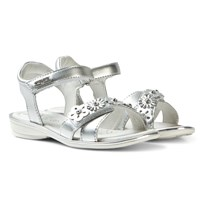 Lelli Kelly Silver Grace Leather Flower Sandals Metallic Silver
