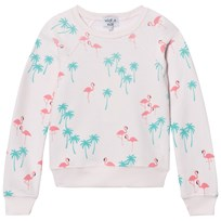 Wildfox Pink All Over Flamingo Print Sweater Seashell Pink