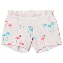 Wildfox Pink All Over Flamingo Print Sweat Shorts Seashell Pink