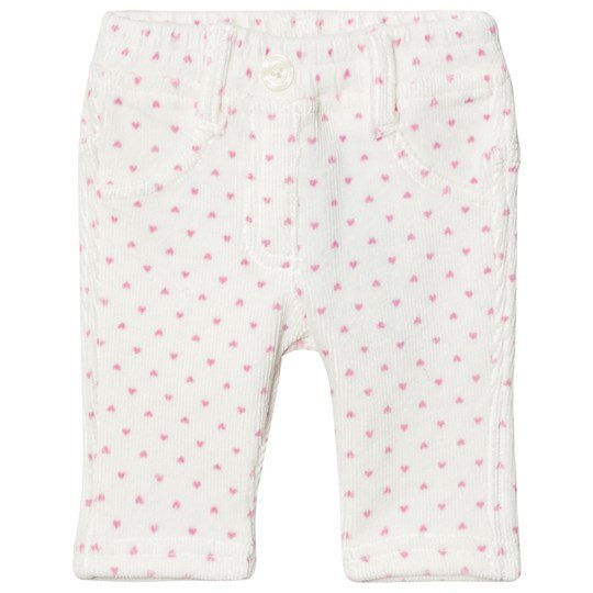 United Colors of Benetton Corduroy Trousers White with Pink Dots White