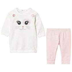 United Colors of Benetton White Longsleeve T-Shirt And Pink Leggings